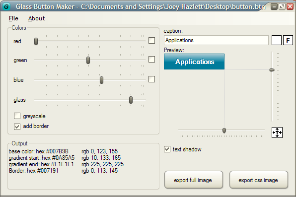 Glass Button Maker Main Interface Screenshot