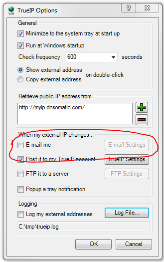 TrueIP Email settings dialog